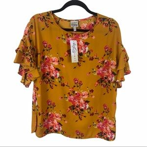 Come Vintage mustard floral top layered sleeve M